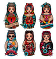 russian dolls set vector image vector image