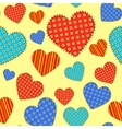 Seamless pattern with checkered hearts vector image