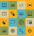 set of 16 advertising icons includes keyword vector image vector image