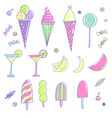set of different kind of sweets vector image vector image