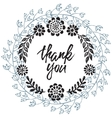 Thank you card with hand drawn floral wreath vector image vector image