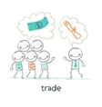 trade talks to people about the documents vector image vector image