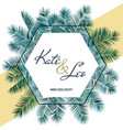 wedding invitation card with palm tree branches vector image vector image