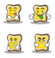 collection of bread character cartoon set design vector image