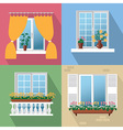 flowers on window vector image
