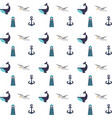 maritime icons pattern background vector image