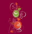 abstract flowers and plant swirls composition vector image