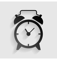 Alarm clock sign Black paper with shadow on gray vector image vector image