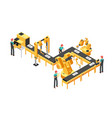 automated production line factory conveyor with vector image vector image