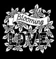 blooming love romantic vintage art black hand vector image vector image