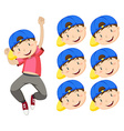 Boy with blue cap and many expression faces vector image vector image