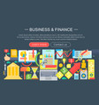 business and finance flat icons concept vector image