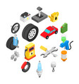 car service maintenance isometric icons vector image vector image