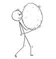 cartoon of man carrying big egg vector image