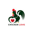 chicken lover logo icon ilustration vector image vector image