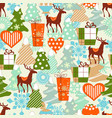 christmas pattern reindeers and gifts vector image vector image