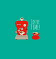 coffee machine making coffee in funny white vector image