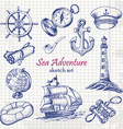 collection of Sea Adventure in sketch style on vector image