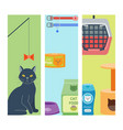 Colorful cat accessory cards animal icons vector image