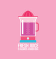 colorful juicer on pink background kitchen vector image vector image