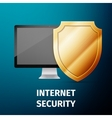 Computer display with shield - internet security vector image