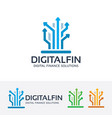 digital finance logo design vector image vector image