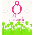 Elegant greeting card design with text 8 March vector image