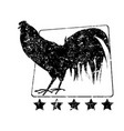 farm rooster stamp vector image vector image