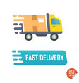 fast delivery button with truck fast delivery vector image