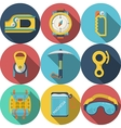 Flat colored icons for rock climbing vector image vector image