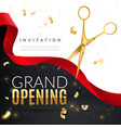 grand opening golden confetti and scissors vector image vector image