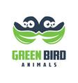green bird logo design vector image vector image