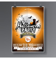 Halloween Party Flyer Design with graves and moon vector image