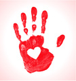 Hand print with heart icon vector image vector image
