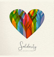 human solidarity day card of hands united in heart vector image vector image