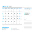 january 2019 week starts on sunday calendar vector image vector image
