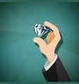 jewel diamond in the human hand vector image vector image