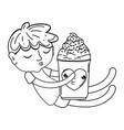 little boy with ice cream kawaii character vector image vector image