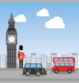 london big ben soldier decker bus and taxi urban vector image vector image