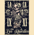 mexican day dead monochrome poster vector image vector image
