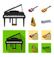 musical instrument cartoonflat icons in set vector image vector image