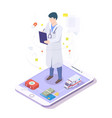 online doctor physician with stethoscope on mobile vector image vector image