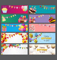 party background baner with flags and cakes vector image vector image
