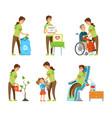 people volunteering environmental caring vector image