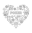 poker heart concept in thin vector image