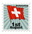 post stamp of national day of Switzerland vector image vector image