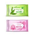 realistic wet wipes packaging set vector image