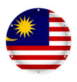 round metallic flag of malaysia with screws vector image