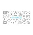 science horizontal banner in outline style vector image vector image