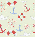 sea and nautical seamless pattern on the green vector image
